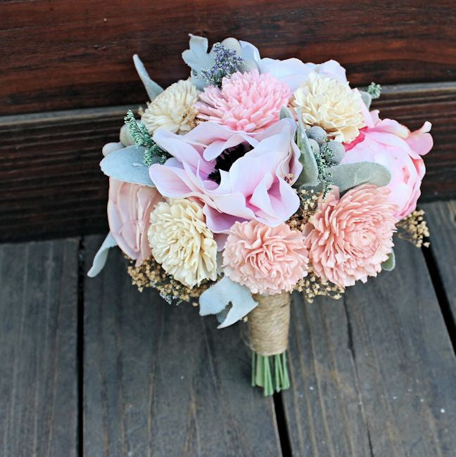 Keepsake Bridesmaid Bridal Bouquet - Silk Flowers, Peony, Anemone ...