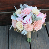 Bridesmaid Bridal Bouquet - Silk Flowers, Peony, Anemone, Sola Wood Flowers, Silver Brunia
