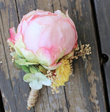 Peony Boutonniere- Groom, Groomsmen, Father of the bride, Silk Flowers, Sola Flowers, Wedding, Wedding Flowers, Boho, Rustic
