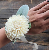 Mother of the Bride Corsage- Luxe Collection, Sola Flowers, Wood Flowers, Succulent, Silver Brunia, Lambs Ear, Wedding Flowers