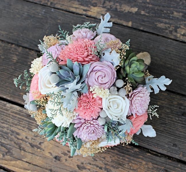 Alternative Bridal Bouquet - Succulents, Dusty Miller, Sola Flowers ...