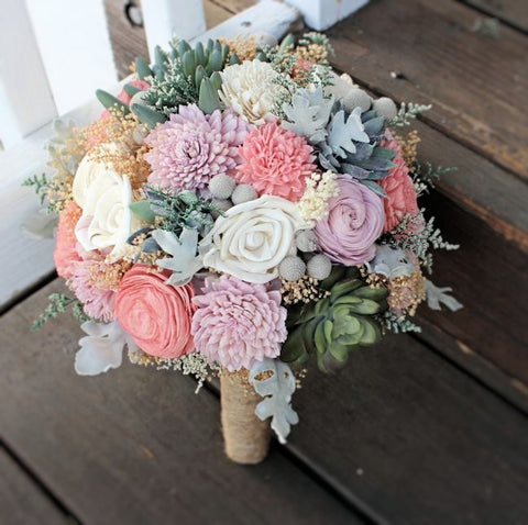 Alternative Sola Flower Bridal Bouquet, Succulents, Dusty Miller, Sola Flowers, Silver Brunia, Keepsake