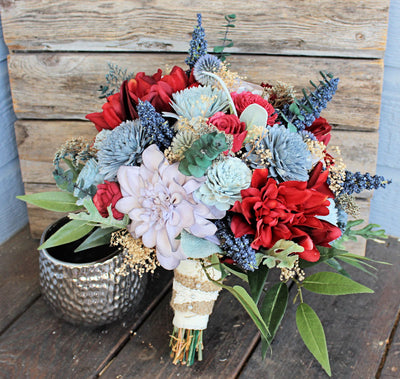 Keepsake Bridal Bouquet - Silk Flowers, Dahlias, Sola Flowers