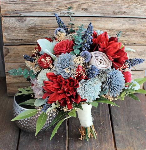 Keepsake Bridal Bouquet - Silk Flowers, Dahlias, Sola Flowers, Lambs Ear, Dusty Miller, Blue Berry Spray, Thistles Forever Bouquet