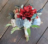 Keepsake Bridesmaid Bouquet - Silk Flowers, Dahlias, Sola Flowers, Lambs Ear, Dusty Miller, Blue Berry Spray, Thistles Forever Bouquet