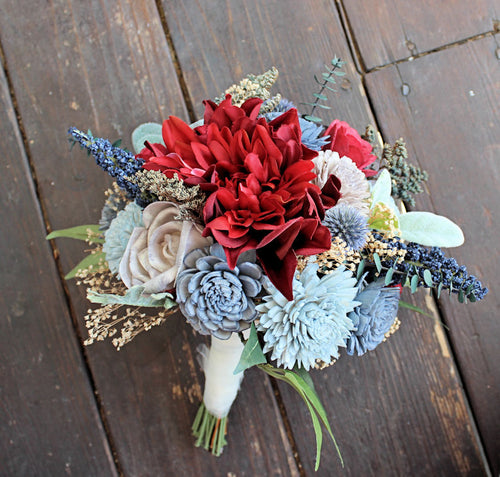 Bridesmaid Bouquet - Silk Flowers, Dahlias, Sola Flowers, Lambs Ear, Dusty Miller, Thistles