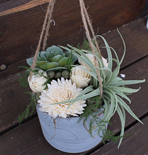 Hanging Artificial Airplant Succulent Sola Flower arrangement, Farmhouse Decor