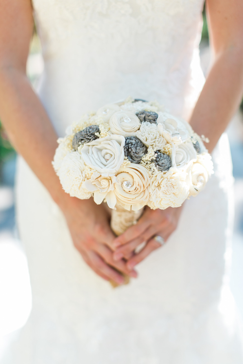 Handmade Sola Flower Wedding Bouquet-Ivory Cream Grey Bridal Bridesmaid Bouquet