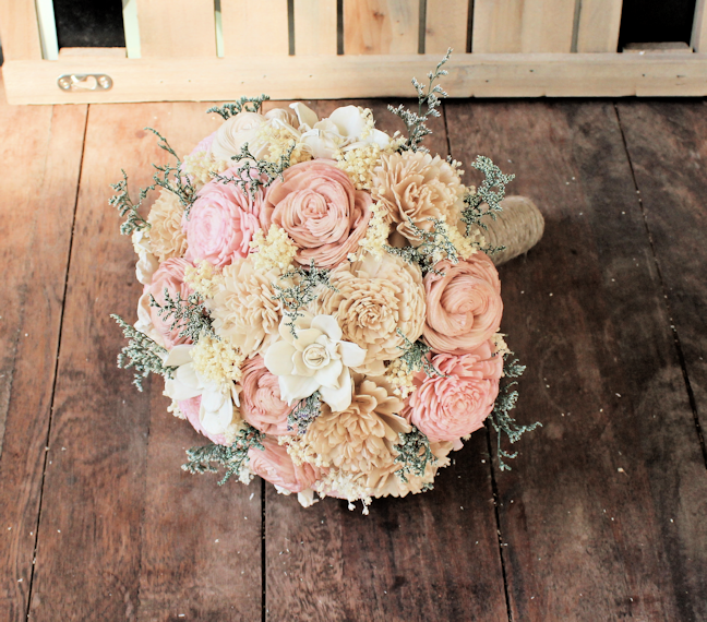 Sola Flower Alternative Wedding Bouquet - Ivory Blush Nude Wedding Flowers Bridal Bridesmaid