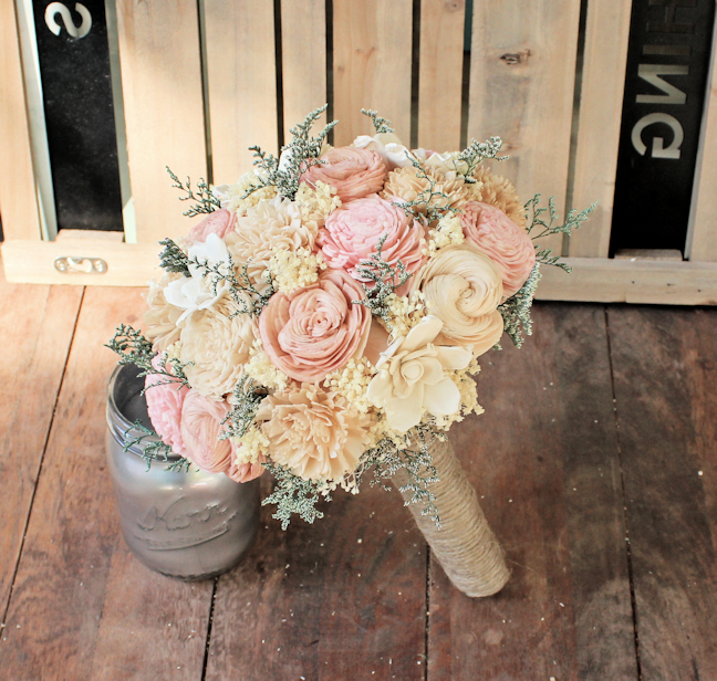 Handmade Alternative Wedding Bouquet - Ivory Blush Nude Bridal ...