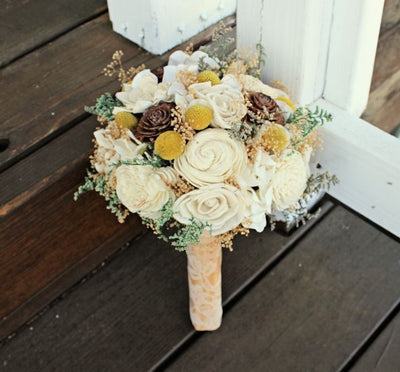 Bridal Bouquet - Sola Flowers, Craspedia, Billy Buttons, Pine Cones