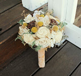 Alternative Wedding Bouquet - Luxe Collection, Craspedia, Billy Buttons, Sola Flowers, Pine Cones, Ivory and Yellow