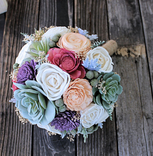 Alternative Wedding Bouquet - Faux Succulents, Dusty Miller, Sola Flowers, Wedding Flowers