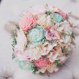 Romantic Wedding Bouquet -Sola Wood Flowers, Pink and Mint, Bridal Bouquet