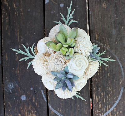 Artificial Succulent Sola Flower arrangement, centerpiece, wood planter, home decor