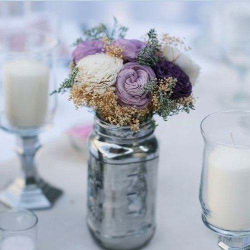 Wedding Centerpiece Flowers, Wedding Reception, Spring Wedding Decor, Sola Flowers, Purple