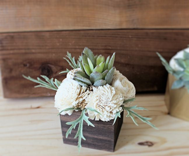 Small Artificial Sola Flower Succulent arrangement, midcentury modern, wood planter, home decor