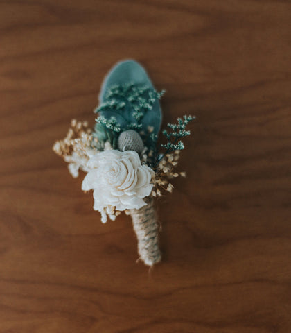 Grooms Boutonniere- Luxe Collection, Sola Flowers, Succulent, Silver Brunia, Lambs Ear, Groomsmen, Buttonhole, Wedding Flowers