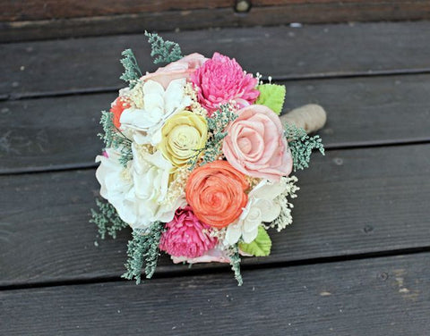 Romantic Bridesmaid Bouquet -Pink, Orange, Yellow, Peach, Natural Bridal Bouquet, Keepsake Bouquet