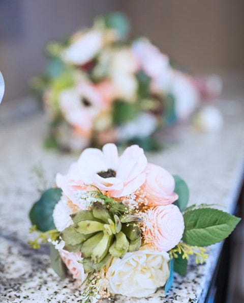 Sola Flower Artificial Succulent Bridesmaid Bouquet - Silk Flowers, Anemones, Cottage Roses, Eucalyptus
