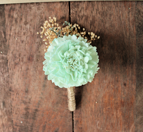 Mint Carnation Boutonniere- Pink and Mint Collection, Groom Wedding, Buttonhole