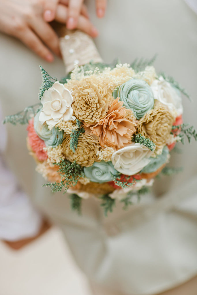 Bridal Bouquet - Sola Wood Flowers, Faux Flowers, Wedding Flowers ...