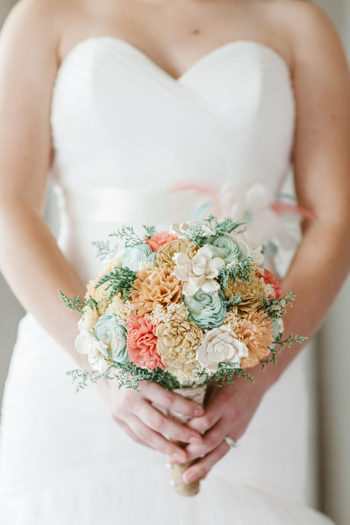 Bridal Bouquet - Sola Wood Flowers, Faux Flowers, Wedding Flowers, Peach, Coral, Mint, Champagne, Ivory, Natural Bridal Bouquet