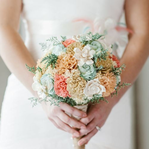 Handmade Sola Flower Wedding Bouquet- Mint Coral Peach Champagne Bridal Bouquet, Alternative Bouquet, Keepsake Bouquet, Rustic Wedding