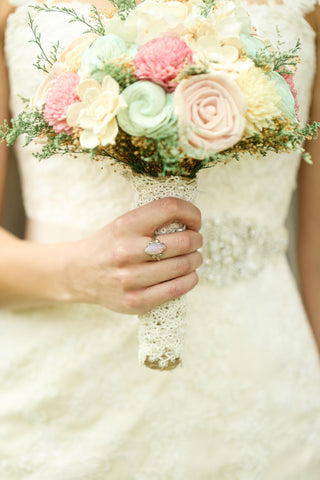 Romantic Bridal Bouquet -Sola Flowers, Pink and Mint, Alternative Bouquet