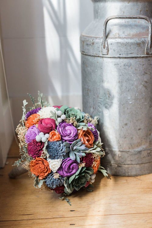 Sola Flower Succulent Wedding Bouquet - Faux Succulents, Dusty Miller, Silver Brunia