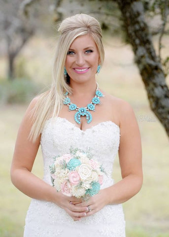 Bridal Bouquet -Sola Wood Flowers, Turquoise Blush Ivory, Wedding Bouquet