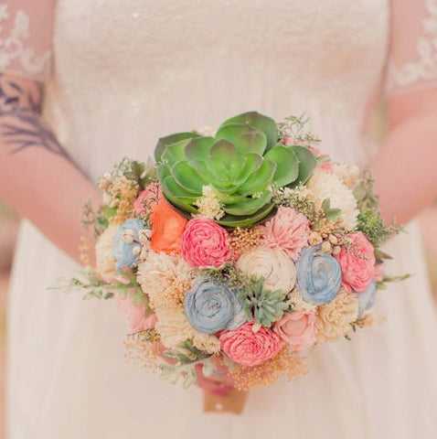 Alternative Wedding Bouquet - Luxe Collection, Succulents, Sola Flowers, Pine Cones, Ivory and Yellow