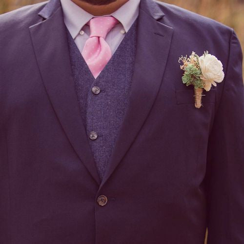 Groom Boutonniere - Succulents, Dusty Miller, Sola Flowers, Buttonhole, Groomsmen, Rustic Wedding