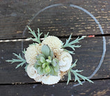 Small Artificial Succulent arrangement, centerpiece, midcentury modern, stained wood vase, home decor, sola flowers, house warming, wedding
