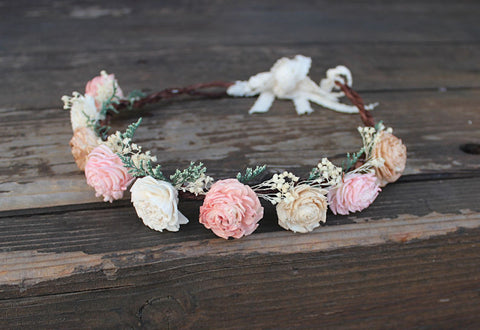 Sola Flower Crown, Flower Girl, Wedding Hair Accessory, Rustic Head Wreath, Wedding Crown