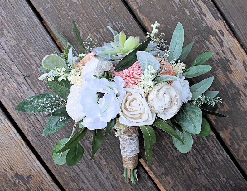 Forever bridesmaid bouquet faux succulents silk flowers sola forever bridesmaid bouquet faux succulents silk flowers sola flowers anemones cottage roses seeded eucalyptus berry spray wedding mightylinksfo