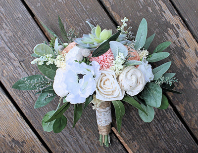 Sola and Silk Flower Bridesmaid Bouquet - Faux Succulents, Anemones, Cottage Roses, Eucalyptus
