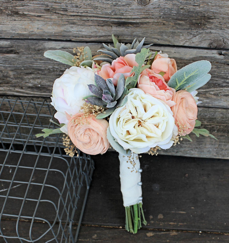 Sola Flower Bridesmaid Bouquet - Faux Succulents, Silk Flowers, Peonies, Cottage Roses, Dusty Miller