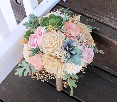 Succulent Bridesmaid Bouquet - Faux Succulents, Dusty Miller, Sola Flowers, Keepsake Bouquet, Sola Bouquet, Rustic Wedding