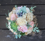 Faux Succulent Bridesmaid Bouquet - Sola Flowers, Dusty Miller, Keepsake Bouquet, Rustic Wedding