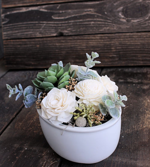 Artificial Succulent Sola Flower arrangement, Farmhouse Decor