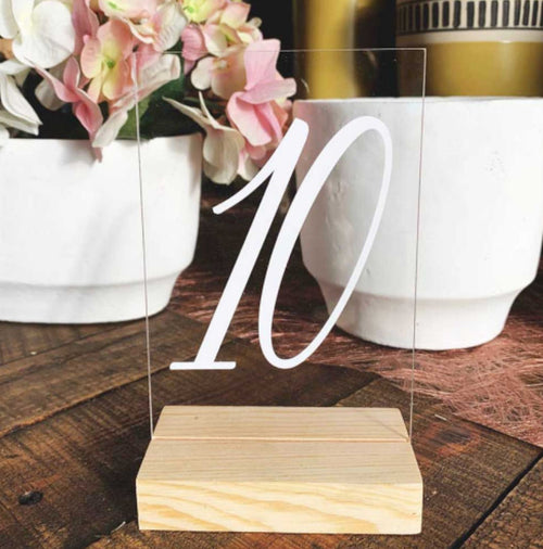 Wood & Glass Table Numbers RENTAL ITEM