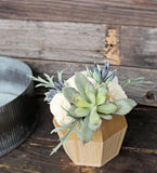 Artificial Succulent arrangement, centerpiece, midcentury modern handpainted gold natural wood vase, home decor, sola flowers, house warming, wedding