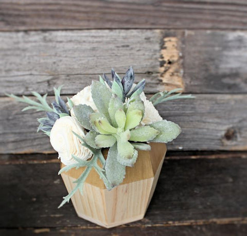 Artificial Succulent Sola Flower arrangement, centerpiece, midcentury modern gold wood vase