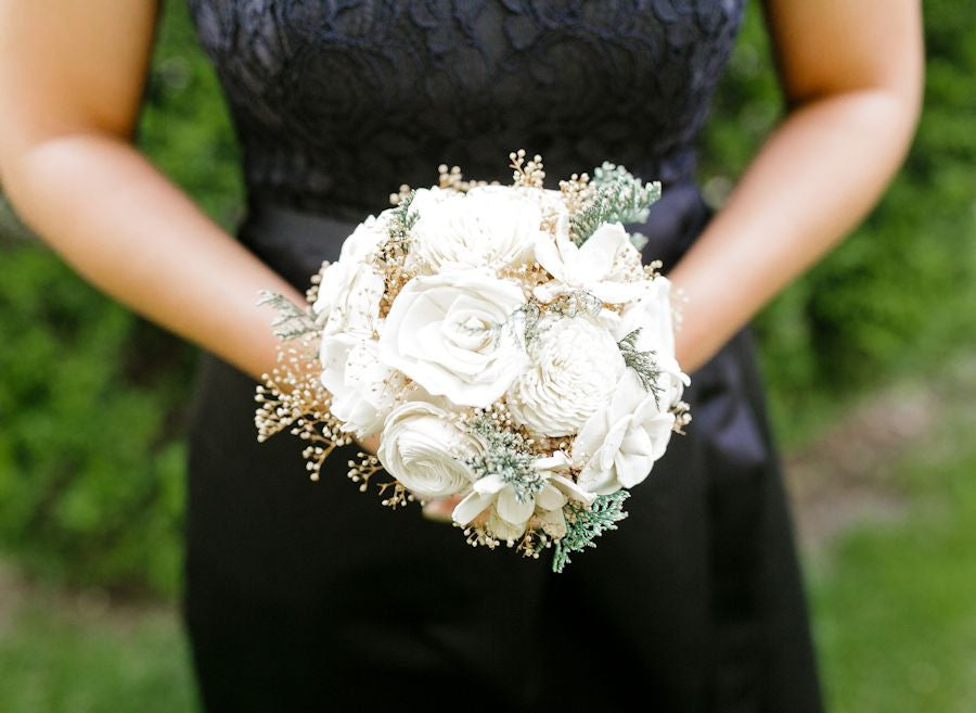 Sola Flower Bridesmaid Bouquet - Vintage Collection, Wedding Bouquet, Ivory Lace Black