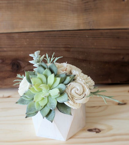 Small Artificial Succulent arrangement, centerpiece, midcentury modern white handpainted wood vase, home decor, sola flowers, house warming, wedding