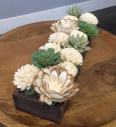 Large Artificial Succulent sola flower planter box arrangement, home decor