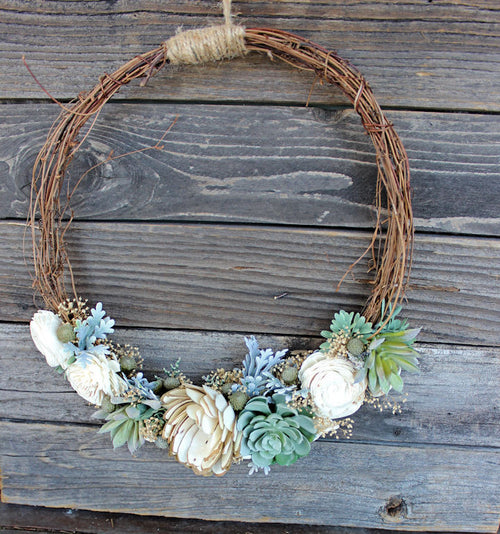 Faux Succulent Sola Flower Wreath, Handmade, Home Decor, Rustic