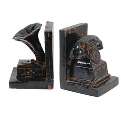 Gramophone And Telephone Bookends