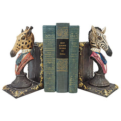 Giraffe And Zebra Bookends